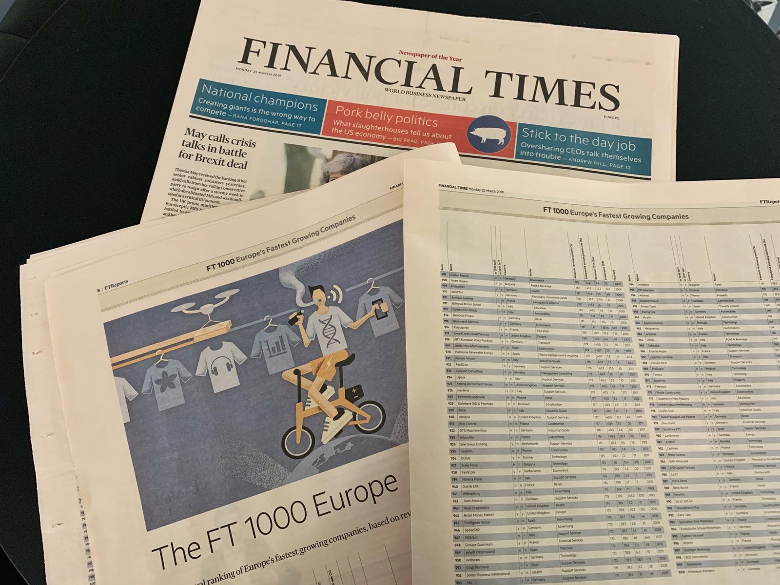 Artheau Aviation dans le classement Financial Times 1000
